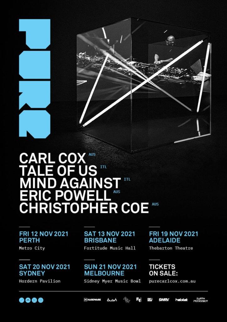 Pure Carl Cox 2021 dates & lineup flyer