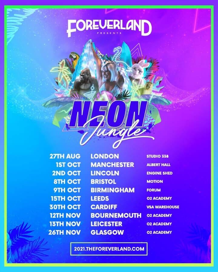Promo flyer - Foreverland Neon Jungle Rave 2021
