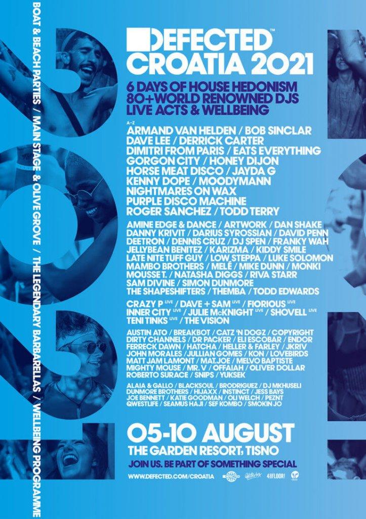 Defected Croatia 2021 lineup poster