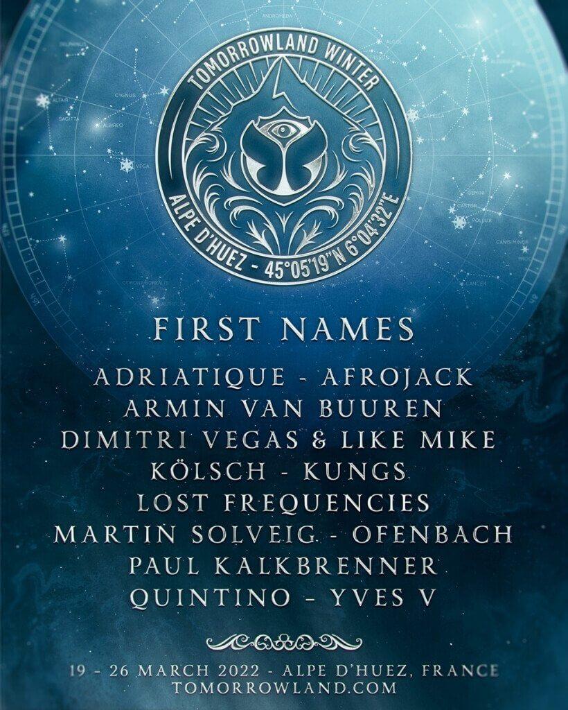 Tomorrowland Winter 2022 lineup flyer