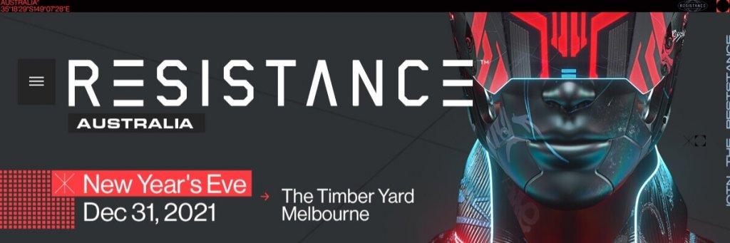 Resistance Melbourne NYE promo flyer